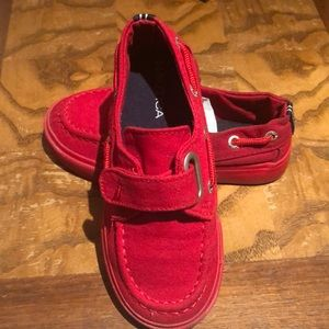 Red toddlers Nautical shoes.